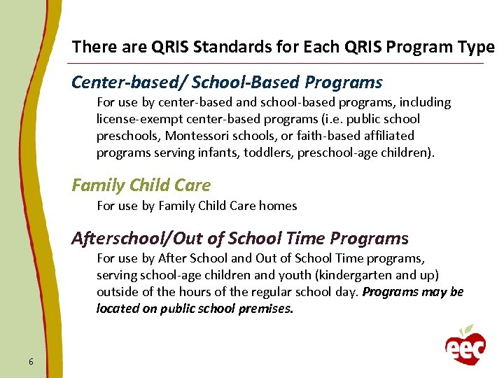 There are QRIS Standards for Each QRIS Program Type Center-based/ School-Based Programs For use