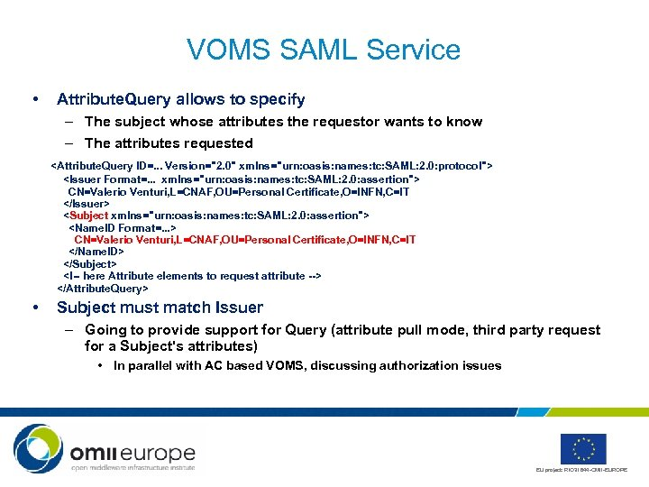 VOMS SAML Service • Attribute. Query allows to specify – The subject whose attributes