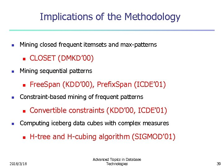 Implications of the Methodology n Mining closed frequent itemsets and max-patterns n n Mining