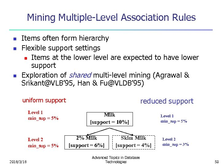 Mining Multiple-Level Association Rules n n n Items often form hierarchy Flexible support settings