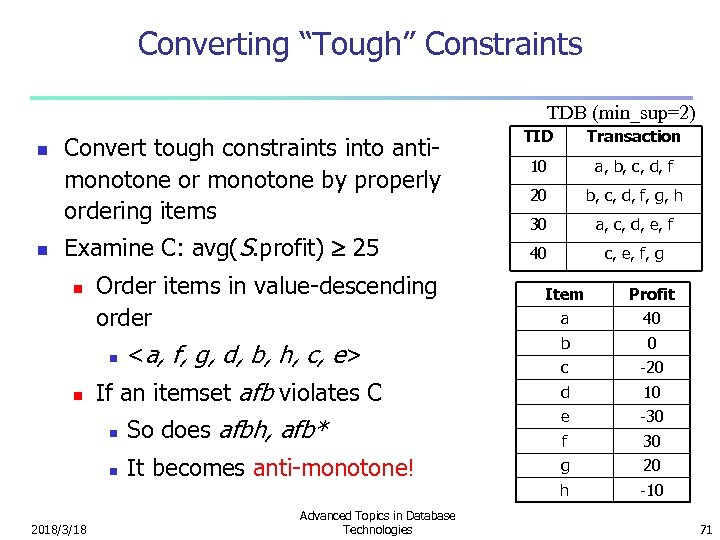 "Converting ""Tough"" Constraints TDB (min_sup=2) n n Convert tough constraints into antimonotone or monotone"