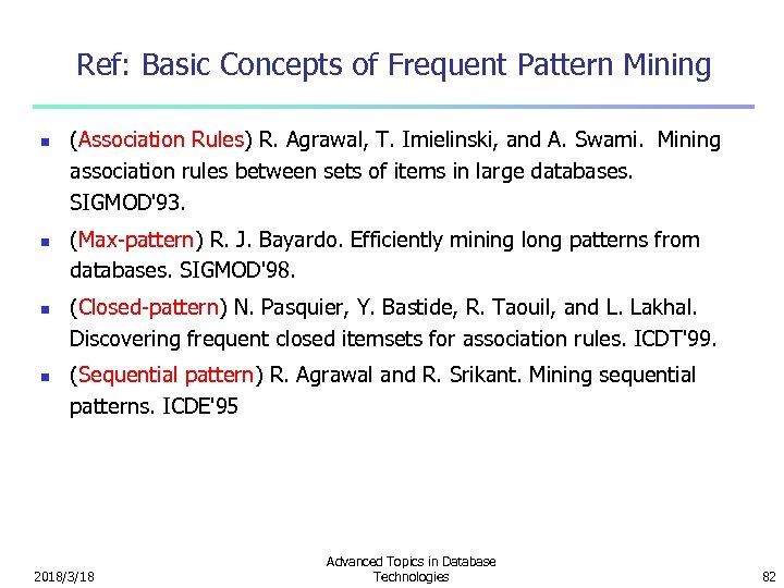 Ref: Basic Concepts of Frequent Pattern Mining n n (Association Rules) R. Agrawal, T.