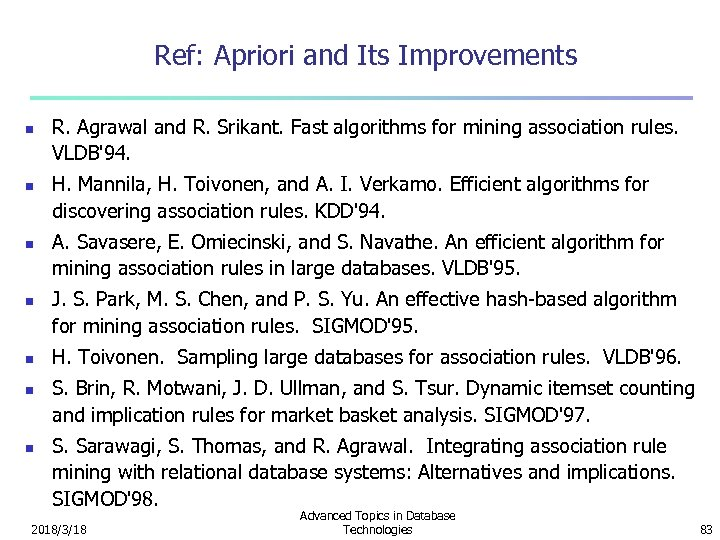 Ref: Apriori and Its Improvements n n n n R. Agrawal and R. Srikant.