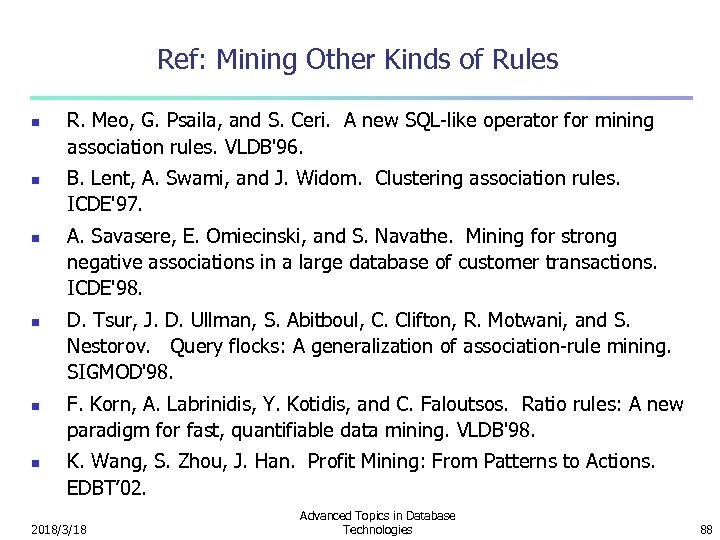 Ref: Mining Other Kinds of Rules n n n R. Meo, G. Psaila, and