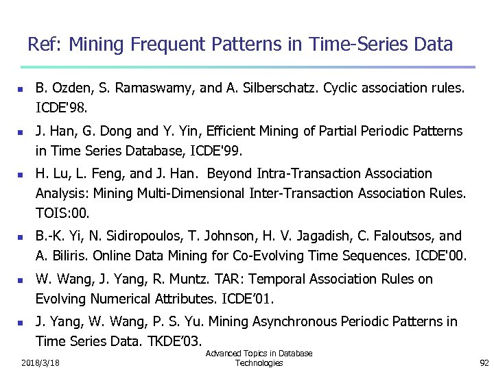 Ref: Mining Frequent Patterns in Time-Series Data n n n B. Ozden, S. Ramaswamy,