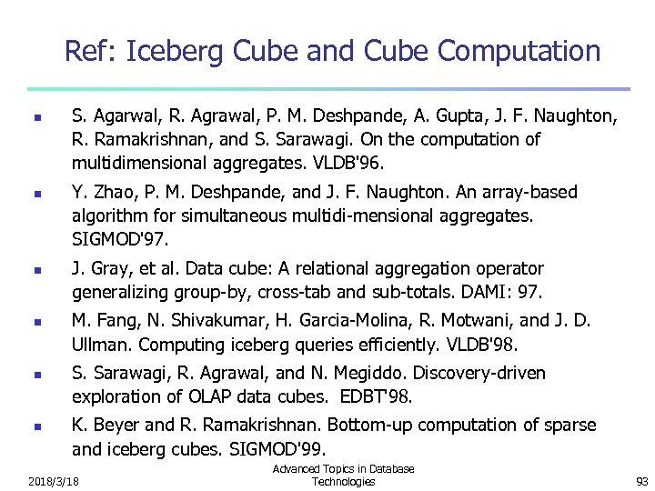 Ref: Iceberg Cube and Cube Computation n n n S. Agarwal, R. Agrawal, P.