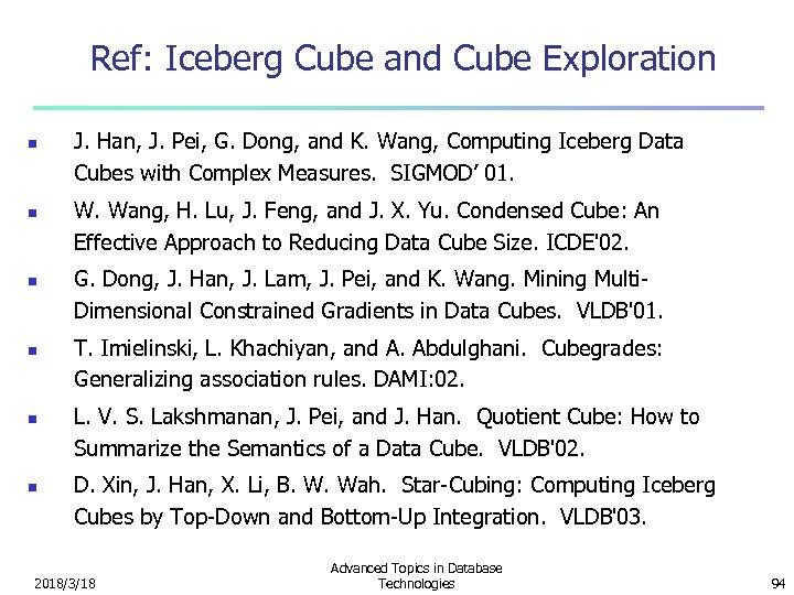 Ref: Iceberg Cube and Cube Exploration n n n J. Han, J. Pei, G.