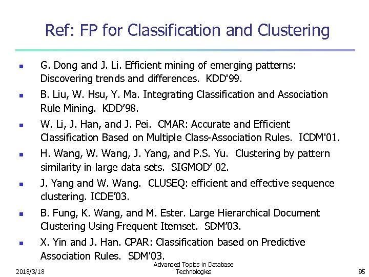 Ref: FP for Classification and Clustering n n n n G. Dong and J.
