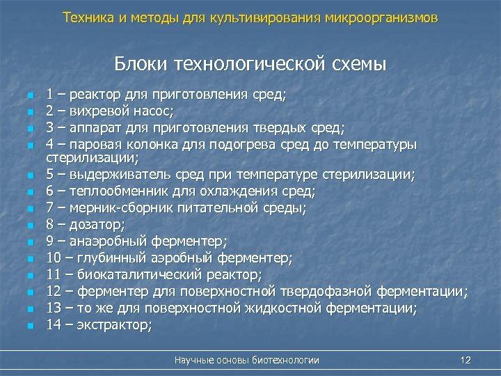Техника и методы для культивирования микроорганизмов Блоки технологической схемы n n n n 1