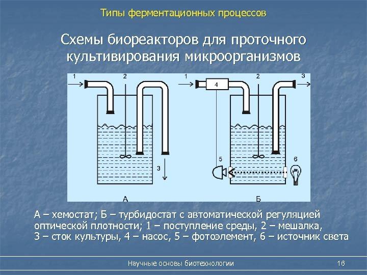 Типы ферментационных процессов Схемы биореакторов для проточного культивирования микроорганизмов А – хемостат; Б –