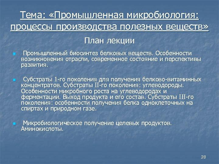 Тема: «Промышленная микробиология: процессы производства полезных веществ» План лекции n n n Промышленный биосинтез