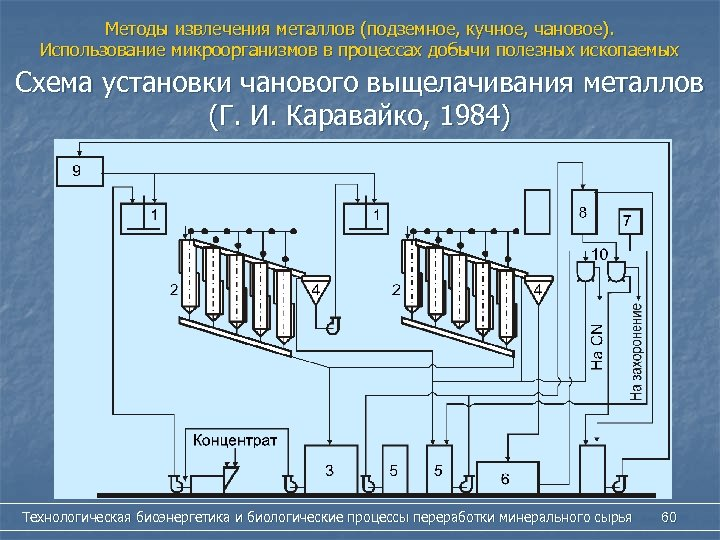 Методы извлечения металлов (подземное, кучное, чановое). Использование микроорганизмов в процессах добычи полезных ископаемых Схема
