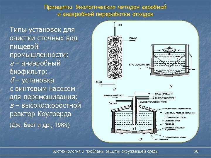 Принципы биологических методов аэробной и анаэробной переработки отходов Типы установок для очистки сточных вод
