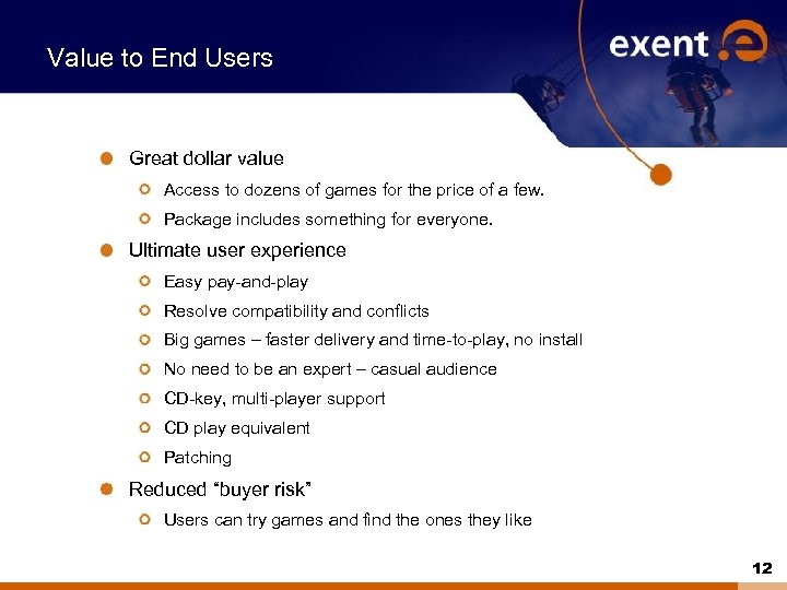 Value to End Users Great dollar value Access to dozens of games for the