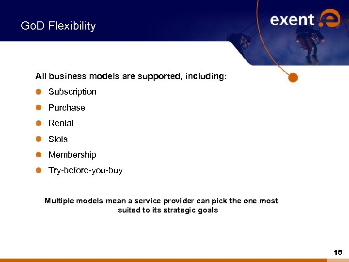 Go. D Flexibility All business models are supported, including: Subscription Purchase Rental Slots Membership