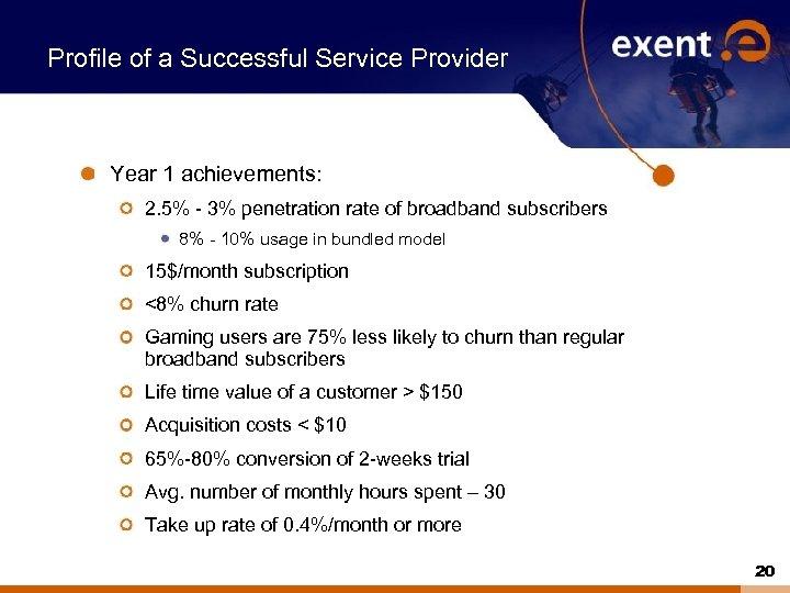 Profile of a Successful Service Provider Year 1 achievements: 2. 5% - 3% penetration
