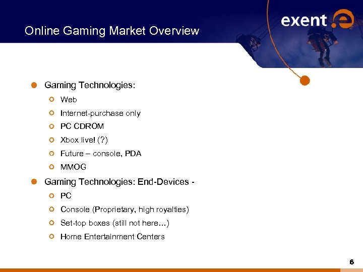 Online Gaming Market Overview Gaming Technologies: Web Internet-purchase only PC CDROM Xbox live! (?