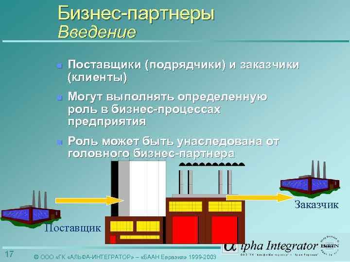Бизнес-партнеры Введение n Поставщики (подрядчики) и заказчики (клиенты) n Могут выполнять определенную роль в