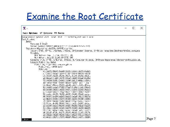 Examine the Root Certificate CPS 290 Page 7