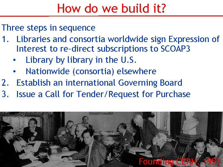 How do we build it? Three steps in sequence 1. Libraries and consortia worldwide