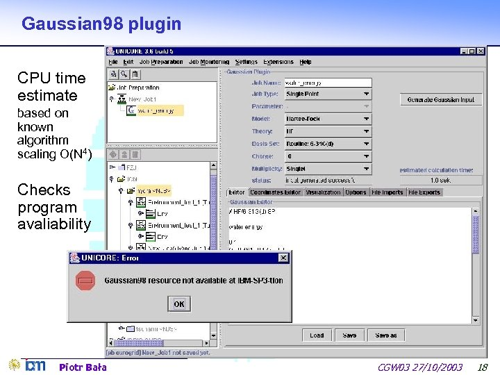 Gaussian 98 plugin CPU time estimate based on known algorithm scaling O(N 4) Checks