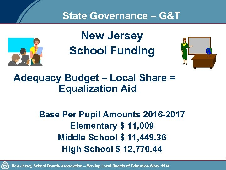 State Governance – G&T New Jersey School Funding Adequacy Budget – Local Share =