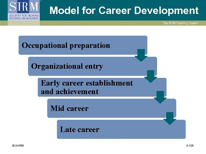 Model for Career Development Occupational preparation Organizational entry Early career establishment and achievement Mid