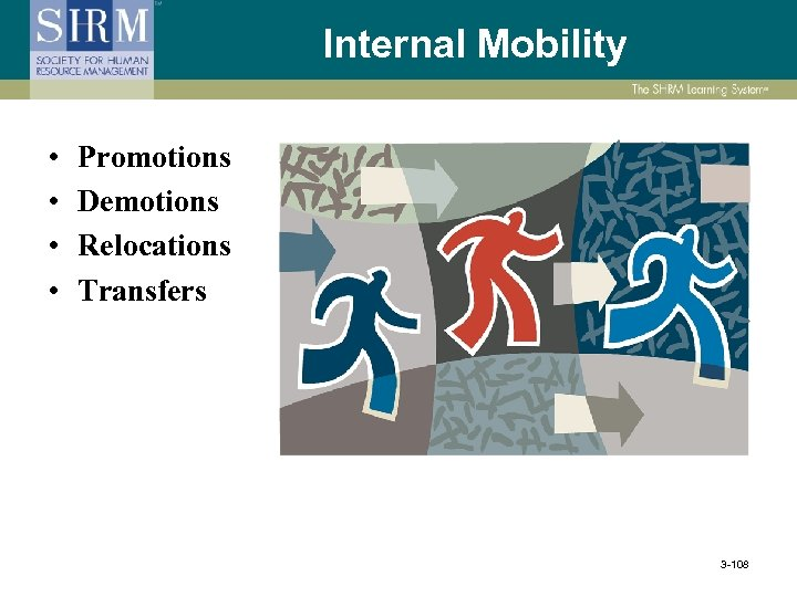 Internal Mobility • • Promotions Demotions Relocations Transfers 3 -108