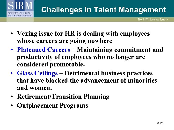 Challenges in Talent Management • Vexing issue for HR is dealing with employees whose