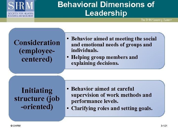Behavioral Dimensions of Leadership Consideration (employeecentered) • Behavior aimed at meeting the social and