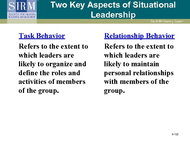 Two Key Aspects of Situational Leadership Task Behavior Refers to the extent to which