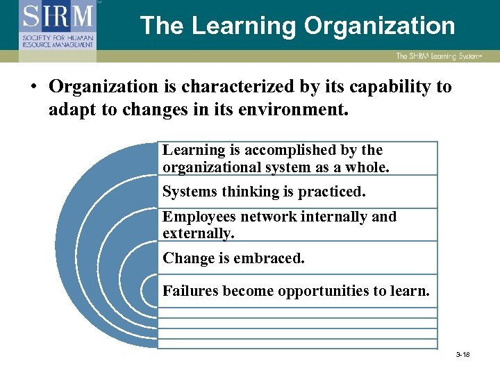 The Learning Organization • Organization is characterized by its capability to adapt to changes