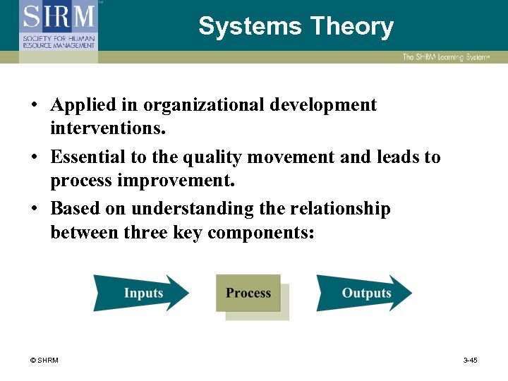 Systems Theory • Applied in organizational development interventions. • Essential to the quality movement