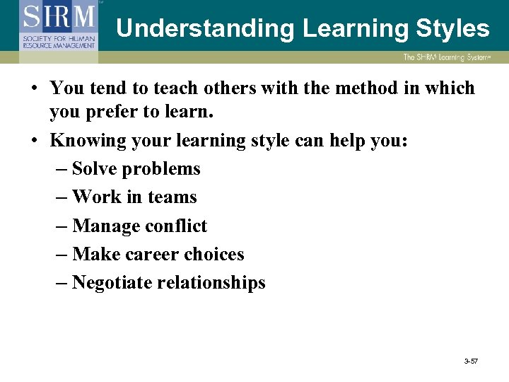 Understanding Learning Styles • You tend to teach others with the method in which