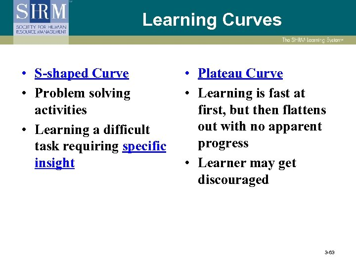 Learning Curves • S-shaped Curve • Problem solving activities • Learning a difficult task