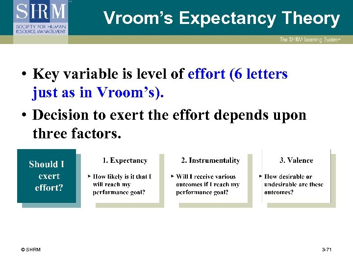Vroom's Expectancy Theory • Key variable is level of effort (6 letters just as