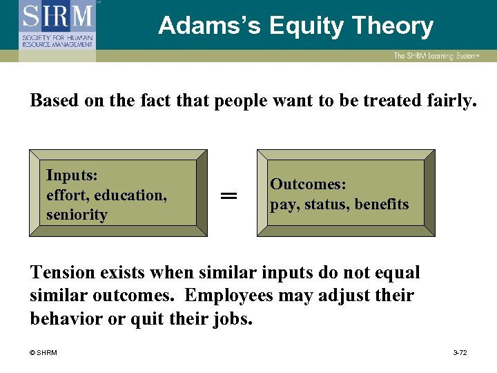 Adams's Equity Theory Based on the fact that people want to be treated fairly.