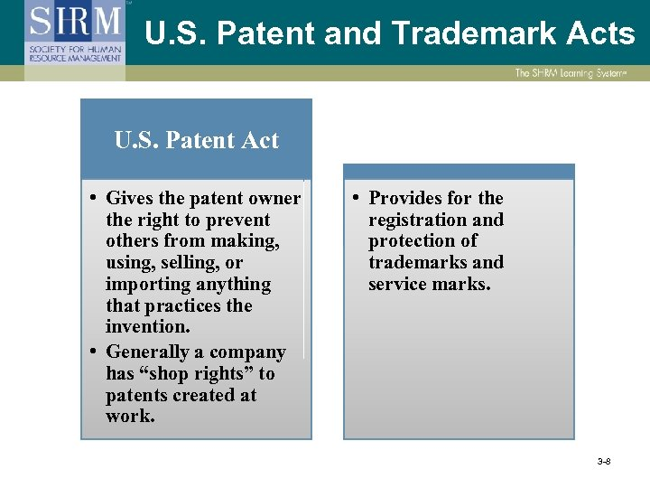 U. S. Patent and Trademark Acts U. S. Patent Act • Gives the patent