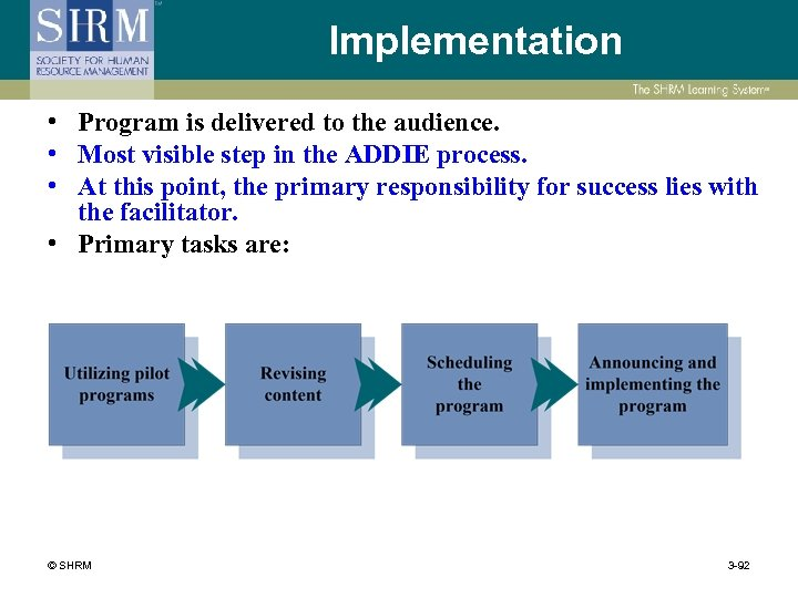 Implementation • Program is delivered to the audience. • Most visible step in the