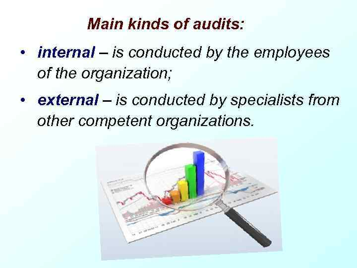 Main kinds of audits: • internal – is conducted by the employees of the