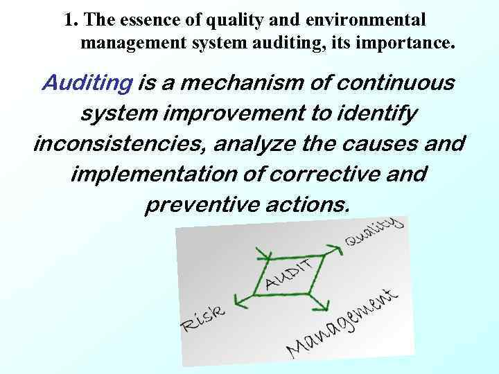 1. The essence of quality and environmental management system auditing, its importance. Auditing is