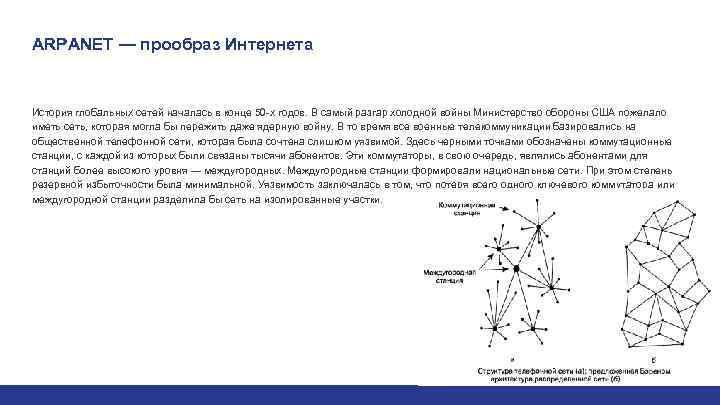 ARPANET — прообраз Интернета История глобальных сетей началась в конце 50 -х годов. В