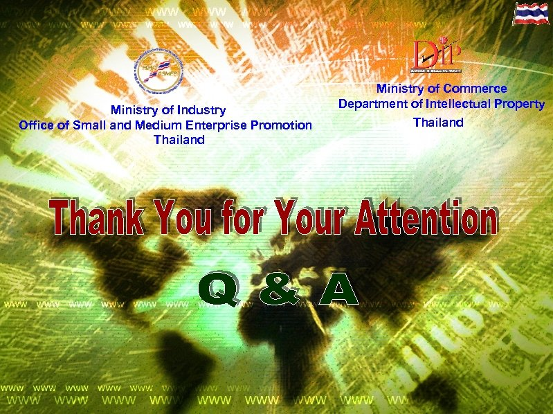 Ministry of Industry Office of Small and Medium Enterprise Promotion Thailand Ministry of Commerce