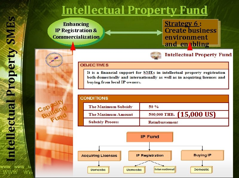 Intellectual Property SMEs Intellectual Property Fund Enhancing IP Registration & Commercialization Strategy 6 :