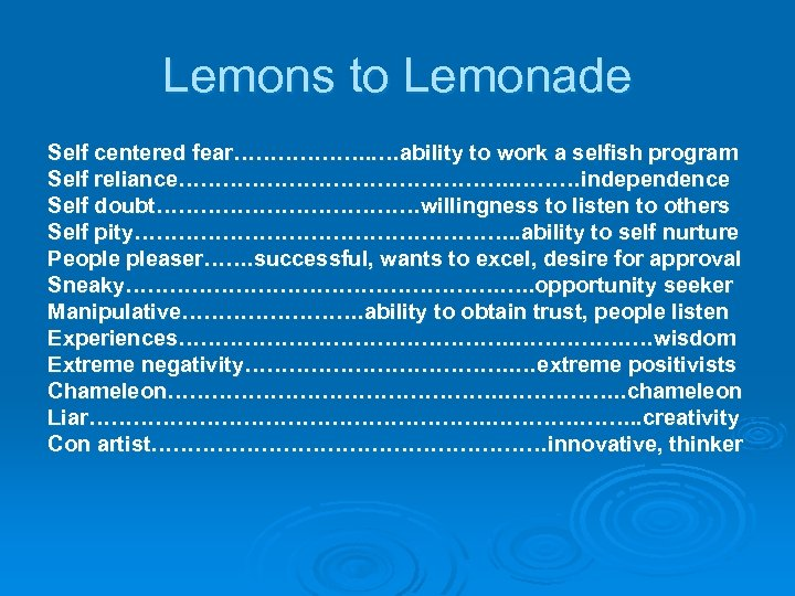 Lemons to Lemonade Self centered fear………………. . …ability to work a selfish program Self
