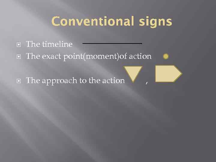 Conventional signs The timeline The exact point(moment)of action The approach to the action ,