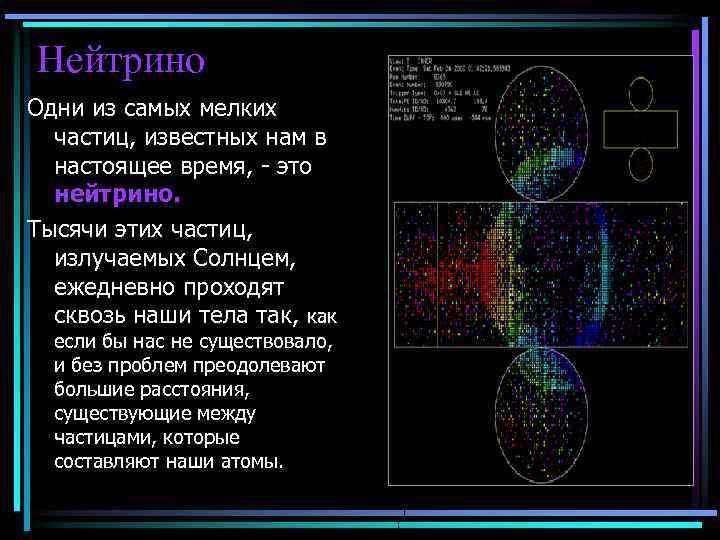 Нейтрино Одни из самых мелких частиц, известных нам в настоящее время, - это нейтрино.