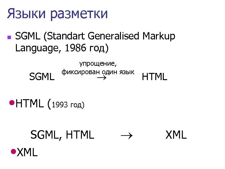 Языки разметки n SGML (Standart Generalised Markup Language, 1986 год) SGML упрощение, фиксирован один