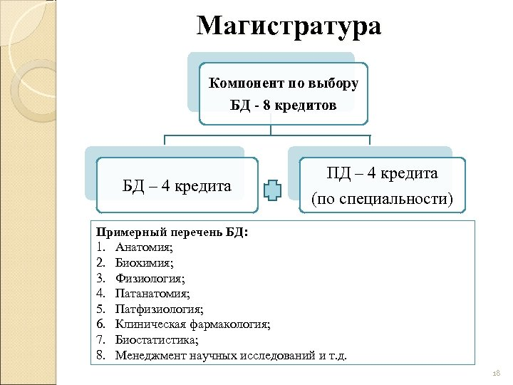 Магистратура Компонент по выбору БД - 8 кредитов БД – 4 кредита ПД –