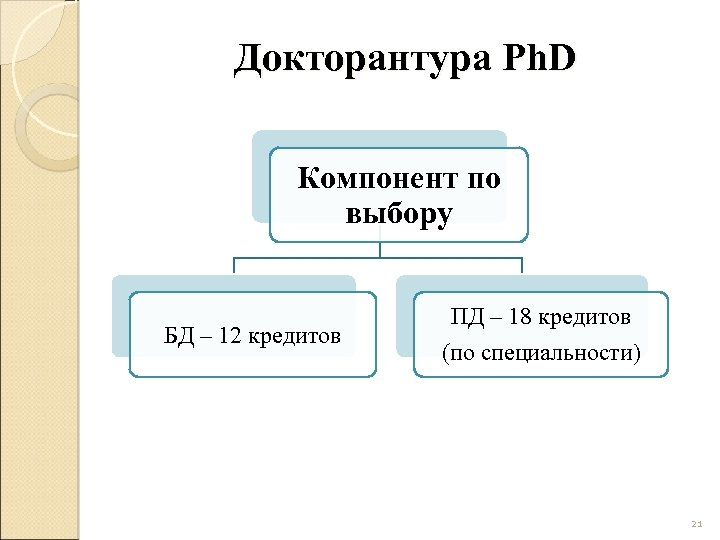 Докторантура Ph. D Компонент по выбору БД – 12 кредитов ПД – 18 кредитов